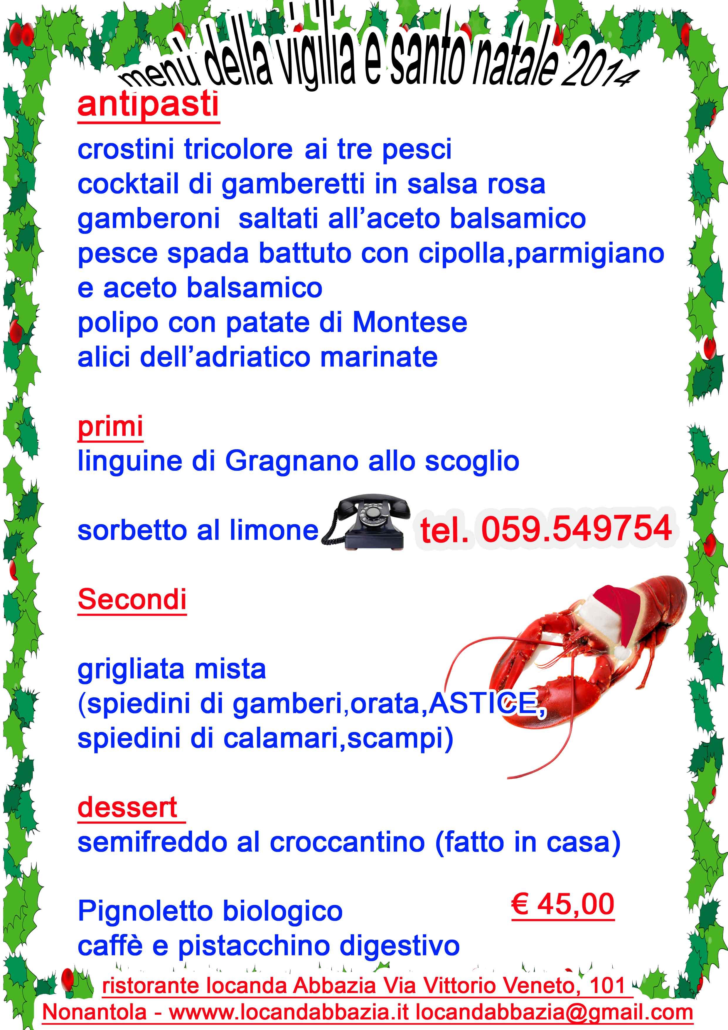 Menu Della Vigilia Di Natale.Menu Della Vigilia Di Natale By Ristorante Locanda Abbazia